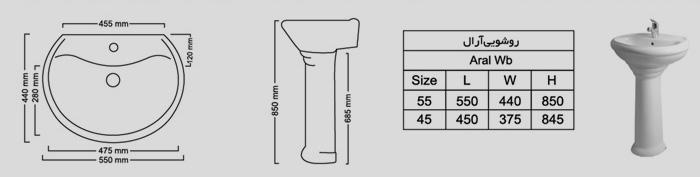 روشویی آرال-مشخصات فنی